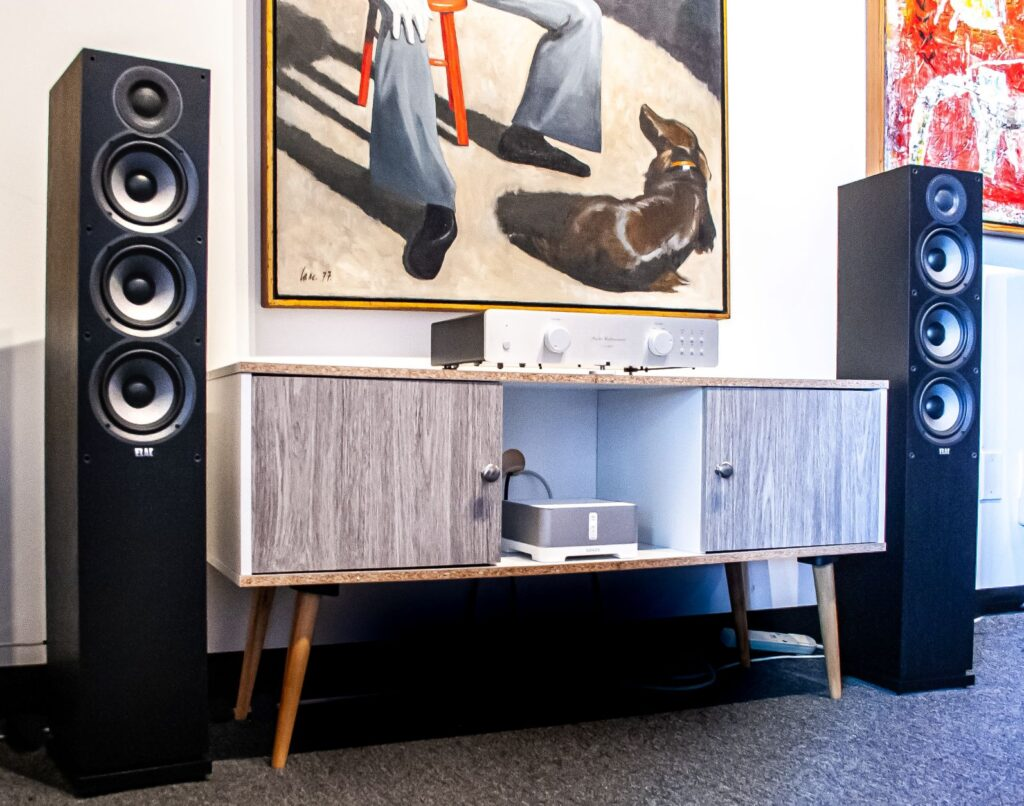 This is a picture of the Elac Debuts, an audio system that is an affordable stereo system.